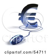 Royalty Free RF Clipart Illustration Of A 3d Blue Euro Symbol With A Computer Mouse Version 4