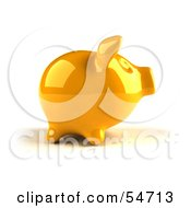 Royalty Free RF Clipart Illustration Of A 3d Yellow Shiny Piggy Bank Version 1