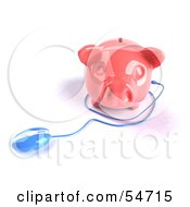 Royalty Free RF Clipart Illustration Of A 3d Blue Computer Mouse Around A Pink Piggy Bank Pose 2 by Julos