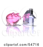Royalty Free RF Clipart Illustration Of A 3d Pink Piggy Bank By A Silver House Pose 5