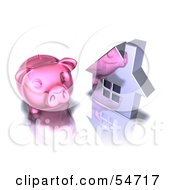 Royalty Free RF Clipart Illustration Of A 3d Pink Piggy Bank By A Silver House Pose 2