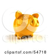 Royalty Free RF Clipart Illustration Of A 3d Yellow Shiny Piggy Bank Version 2