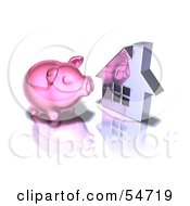 Royalty Free RF Clipart Illustration Of A 3d Pink Piggy Bank By A Silver House Pose 4