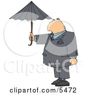 Businessman Standing Outside Under An Umbrella In Rainy Weather Clipart Illustration