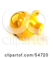 Royalty Free RF Clipart Illustration Of A 3d Yellow Shiny Piggy Bank Version 4