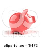 Royalty Free RF Clipart Illustration Of A 3d Pink Shiny Piggy Bank Version 1