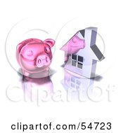 Royalty Free RF Clipart Illustration Of A 3d Pink Piggy Bank By A Silver House Pose 3