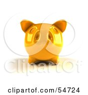Royalty Free RF Clipart Illustration Of A 3d Yellow Shiny Piggy Bank Version 3