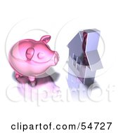 Royalty Free RF Clipart Illustration Of A 3d Pink Piggy Bank By A Silver House Pose 1
