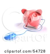 Royalty Free RF Clipart Illustration Of A 3d Blue Computer Mouse Around A Pink Piggy Bank Pose 3