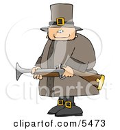 Armed Pilgrim Man Hunting Birds Clipart Illustration