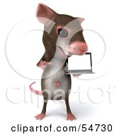 3d Mouse Character Presenting A Laptop Version 2 by Julos