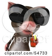 Royalty Free RF Clipart Illustration Of A 3d Mouse Character Wearing Shades And Sipping A Drink Pose 1