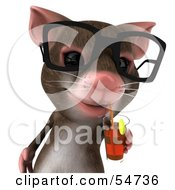 Royalty Free RF Clipart Illustration Of A 3d Mouse Character Wearing Spectacles And Sipping A Beverage Pose 1