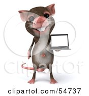 Royalty Free RF Clipart Illustration Of A 3d Mouse Character Presenting A Laptop Version 1