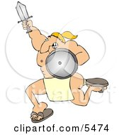 Muscular Warrior Charging To Battle With A Sword And Shield Clipart Illustration