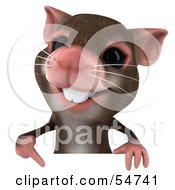 Royalty Free RF Clipart Illustration Of A 3d Mouse Character Pointing Down To And Holding A Blank Sign