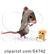 Royalty Free RF Clipart Illustration Of A 3d Mouse Character Chasing A Wedge Of Cheese Version 2