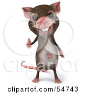 Royalty Free RF Clipart Illustration Of A 3d Mouse Character Giving The Thumbs Up Pose 3
