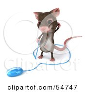 Royalty Free RF Clipart Illustration Of A 3d Mouse Character Holding The Cable To A Computer Mouse Version 2