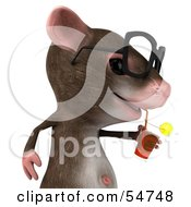 Royalty Free RF Clipart Illustration Of A 3d Mouse Character Wearing Spectacles And Sipping A Beverage Pose 2