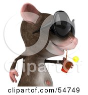 Royalty Free RF Clipart Illustration Of A 3d Mouse Character Wearing Shades And Sipping A Drink Pose 2