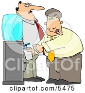 Boss Keeping A Close Eye On An Employee Filling His Cup With Water Clipart Illustration