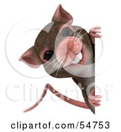Royalty Free RF Clipart Illustration Of A 3d Mouse Character Looking Around A Blank Sign by Julos