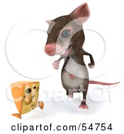 Royalty Free RF Clipart Illustration Of A 3d Mouse Character Chasing A Wedge Of Cheese Version 1