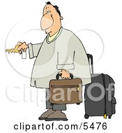 Weary Traveler Businessman Checking Into A Hotel Clipart Illustration