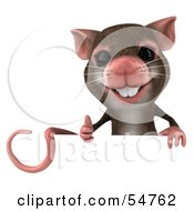 3d Mouse Character Giving The Thumbs Up And Holding A Blank Sign