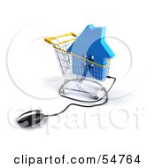 Royalty Free RF Clipart Illustration Of A 3d Computer Mouse Under A Blue House In A Shopping Cart
