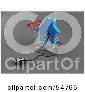 Royalty Free RF Clipart Illustration Of A 3d Computer Mouse Under A Blue Home In A Shopping Cart