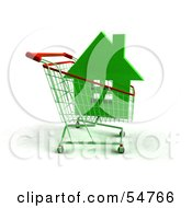 Royalty Free RF Clipart Illustration Of A 3d Green House In A Shopping Cart