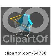 Royalty Free RF Clipart Illustration Of A 3d Blue Home In A Shopping Cart