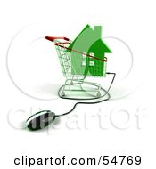 Royalty Free RF Clipart Illustration Of A 3d Computer Mouse Under A Green House In A Shopping Cart