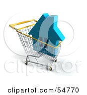Royalty Free RF Clipart Illustration Of A 3d Blue House In A Shopping Cart