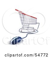 Royalty Free RF Clipart Illustration Of A 3d Shopping Cart With A Computer Mouse Version 4 by Julos