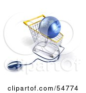 Royalty Free RF Clipart Illustration Of A 3d Blue Globe Resting In A Shopping Cart With A Computer Mouse Version 4 by Julos