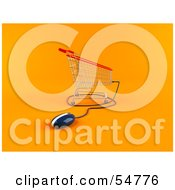 Royalty Free RF Clipart Illustration Of A 3d Shopping Cart With A Computer Mouse Version 3