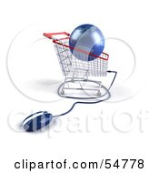 Royalty Free RF Clipart Illustration Of A 3d Blue Globe Resting In A Shopping Cart With A Computer Mouse Version 1