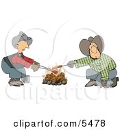 Gay Cowboys Cooking Hot Dogs Over A Campfire Clipart Illustration