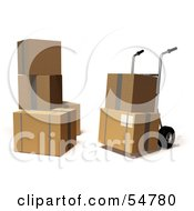 Royalty Free RF Clipart Illustration Of 3d Boxes With A Dolly Version 6