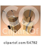 Royalty Free RF Clipart Illustration Of 3d Boxes With A Dolly Version 1