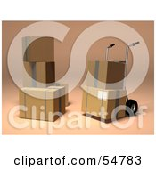 Royalty Free RF Clipart Illustration Of 3d Boxes With A Dolly Version 2