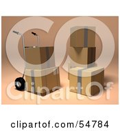 Royalty Free RF Clipart Illustration Of 3d Boxes With A Dolly Version 4