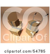 Royalty Free RF Clipart Illustration Of 3d Boxes With A Dolly Version 3
