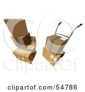 Royalty Free RF Clipart Illustration Of 3d Boxes With A Dolly Version 7