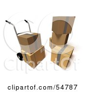 Royalty Free RF Clipart Illustration Of 3d Boxes With A Dolly Version 5