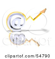 Royalty Free RF Clipart Illustration Of A 3d Arrow Graph Over An Arobase Symbol Version 2 by Julos
